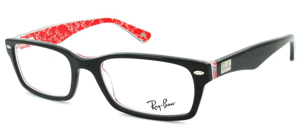 Ray-Ban RX5206 2479 Noir et rouge