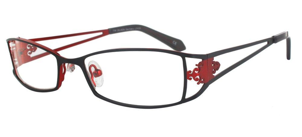lunettes de vue ExperOptic Antoinette Noire et rouge