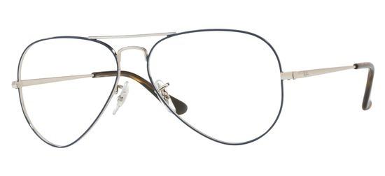 lunettes de vue Ray-Ban Aviator RX6489-2970 Argent Bleu