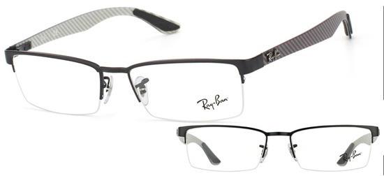 lunettes de vue Ray-Ban RX8412 2503 Noir carbone gris T54