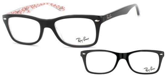 Ray-Ban RX5228-5014 PROMO T53 Noir sur texture